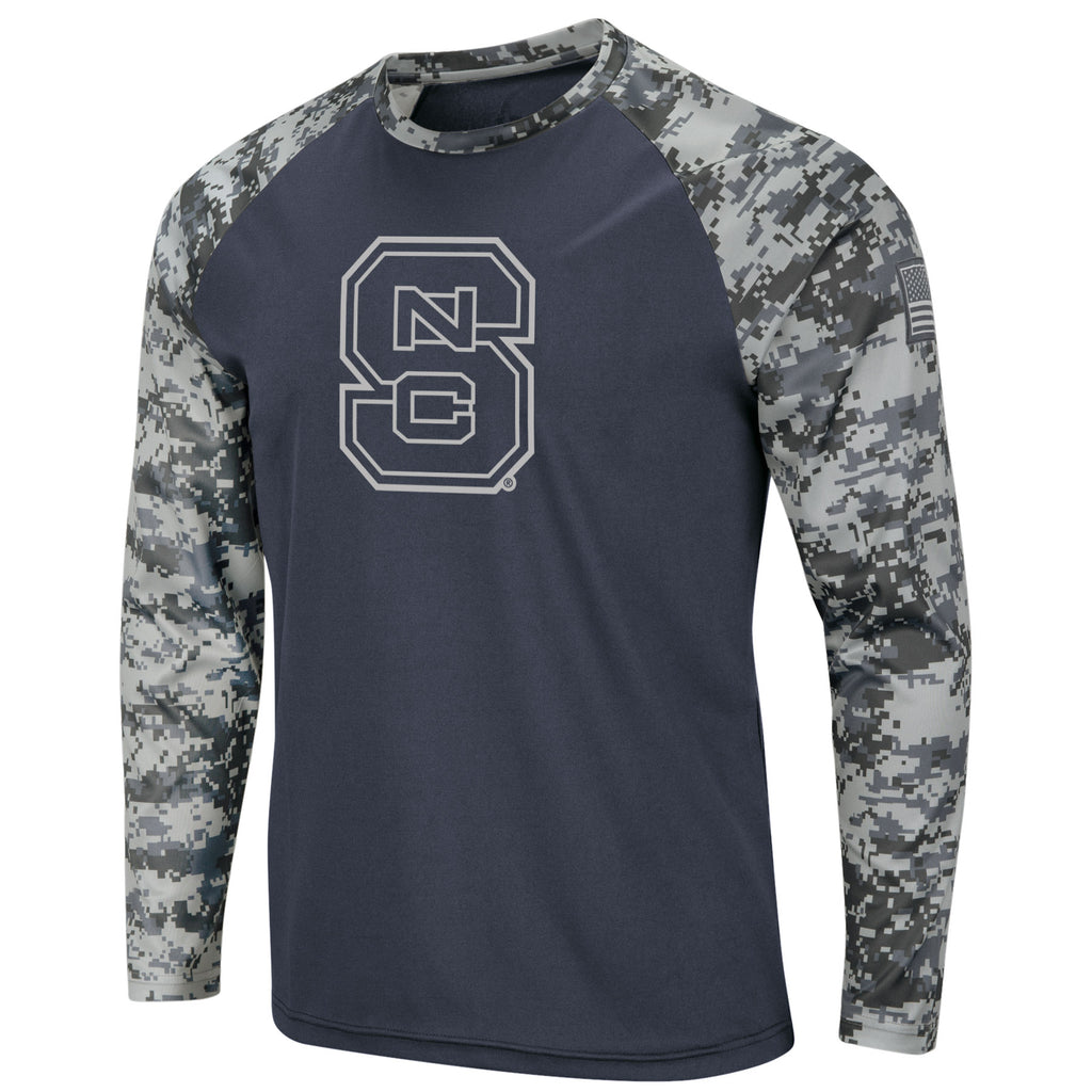 NC State Wolfpack Charcoal and Camo OHT Block S Long Sleeve Poly T-Shirt