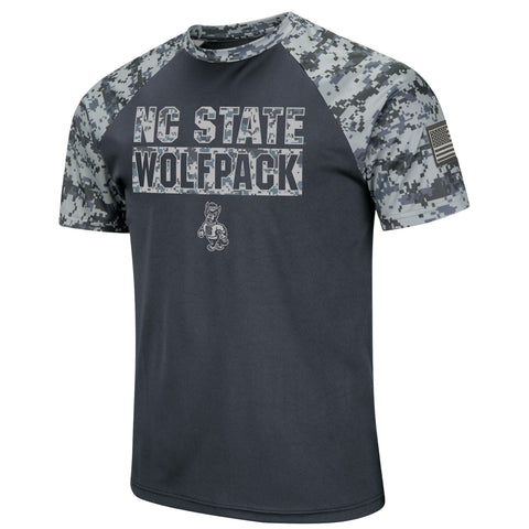 NC State Wolfpack Charcoal and Camo OHT Strutting Wolf Poly T-Shirt