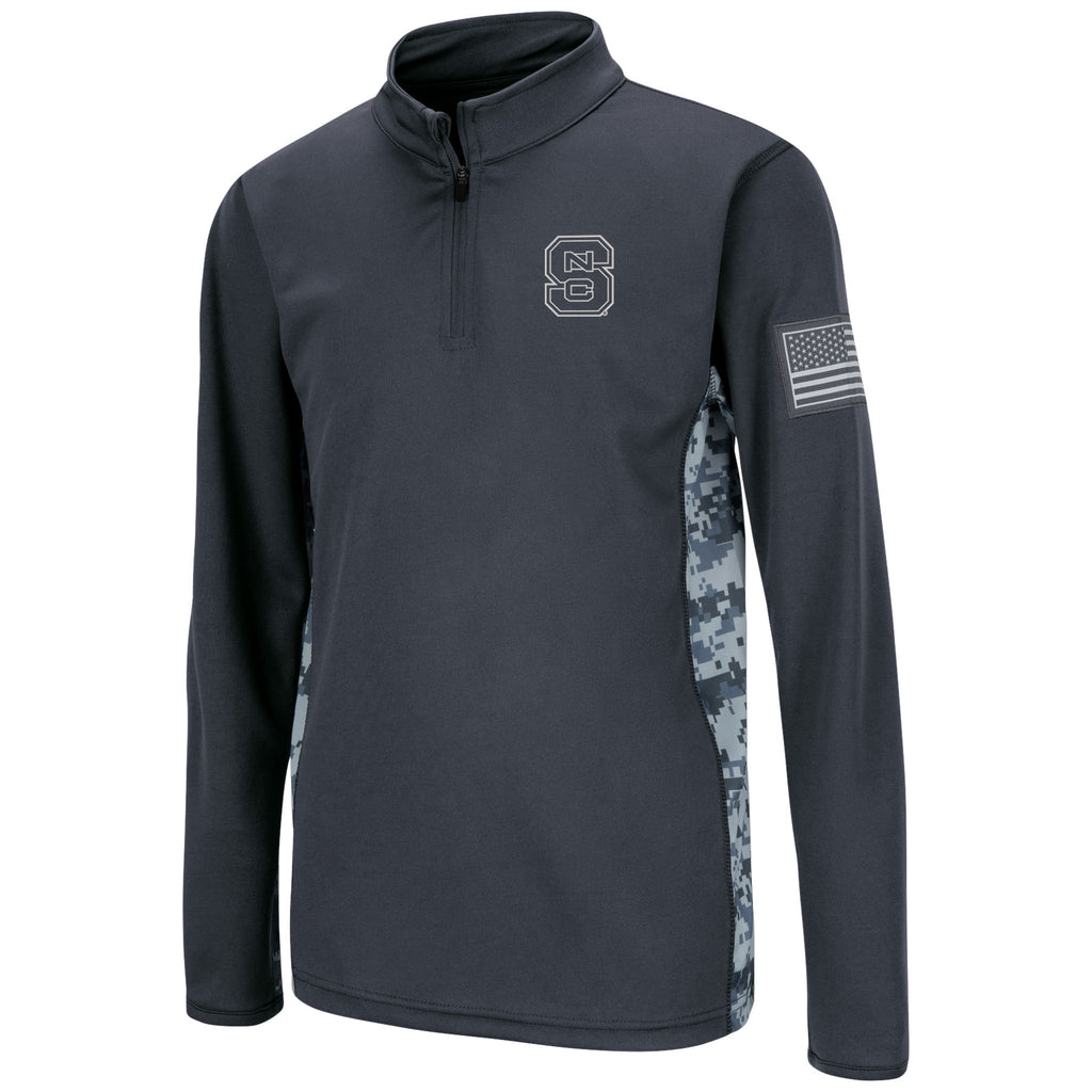 NC State Wolfpack Youth Charcoal and Camo OHT Block S 1/4 Zip Jacket