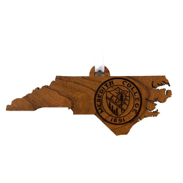 Meredith College Engraved State Outline Seal Decal Ornament
