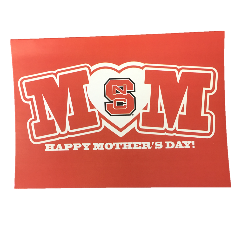 NC State Wolfpack Red MOM Happy Mother's Day Card
