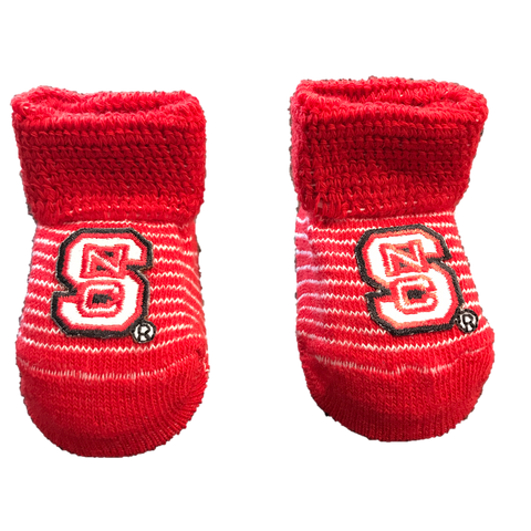 NC State Wolfpack Red and White Striped Baby Booties With Gift Box
