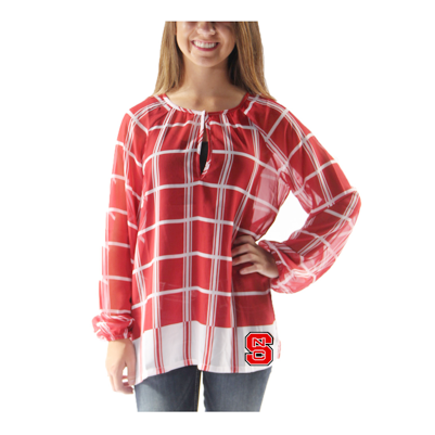 NC State Wolfpack Red and White Block S Plaid Sheer Tunic
