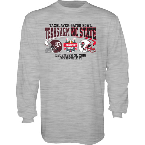 NC State Wolfpack Grey 2018 Taxslayer Gator Bowl Long Sleeve T-Shirt