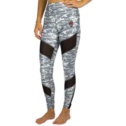 NC State Wolfpack Women's Neutral Camo Wolfhead Leggings