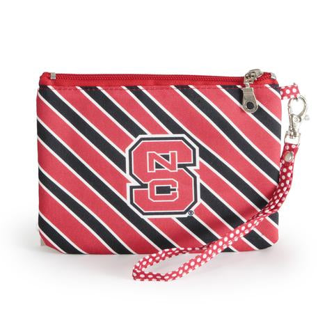 NC State Block S Striped Wristlet