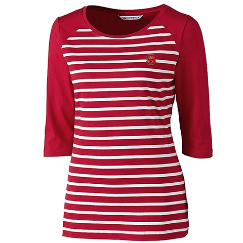 NC State Wolfpack Women's Cutter & Buck Red and White Revel Stripe 3/4 Sleeve
