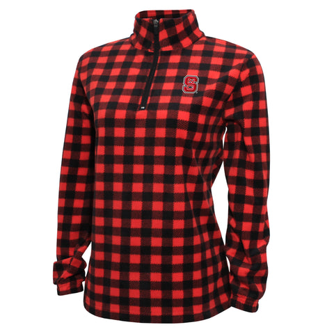 NC State Wolfpack Women's Red and Black Buffalo Check 1/4 Zip Fleece Jacket