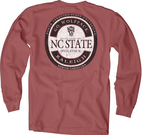 NC State Wolfpack Crimson Circle Go Wolfpack Nanna Long Sleeve T-Shirt