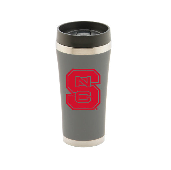NC State Wolfpack Grey 16oz Red Block S Tumbler