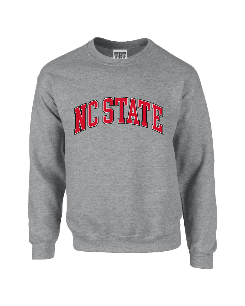 NC State Wolfpack Oxford Grey Arched NC State Crewneck Sweatshirt
