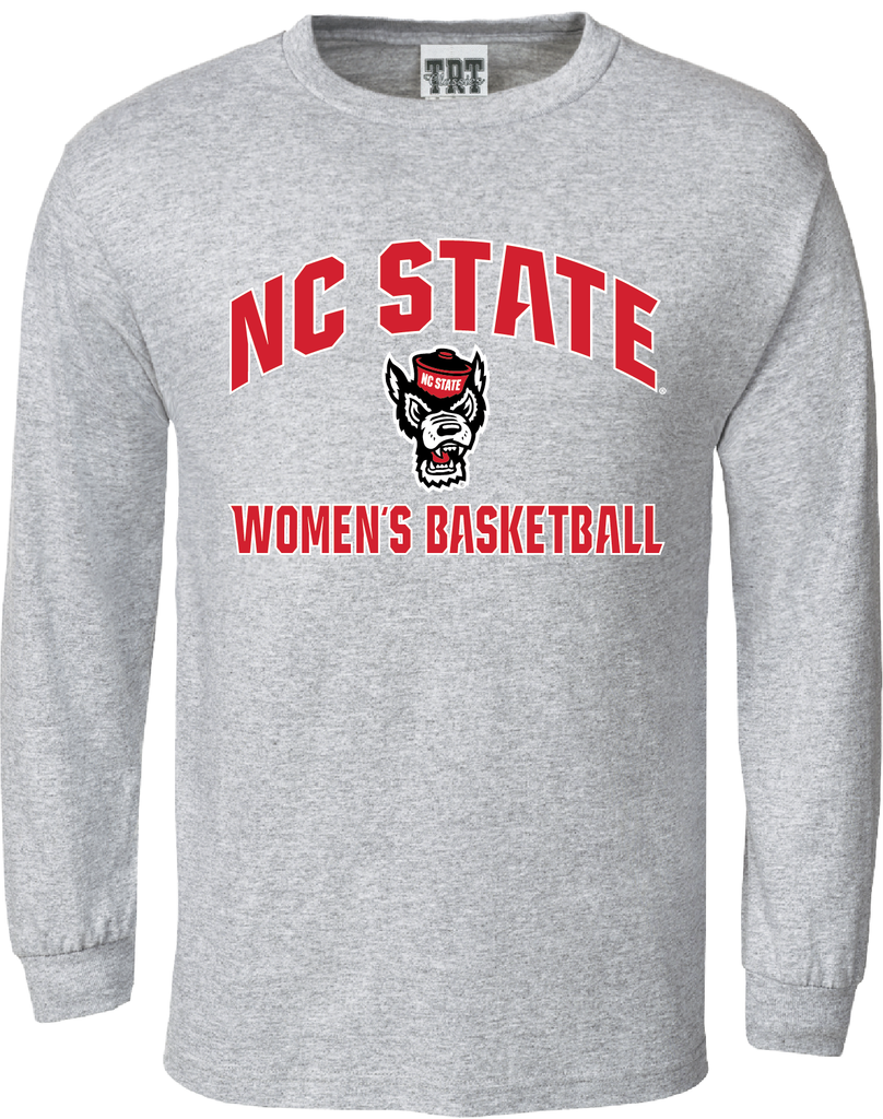 NC State Wolfpack Oxford Grey Wolfhead Women's Basketball Long Sleeve T-Shirt