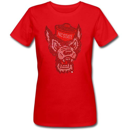 NC State Wolfpack Women's Red Missy Wolfhead Dazzle Crew Neck T-Shirt