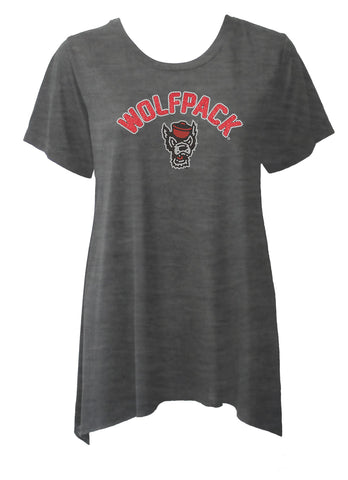 NC State Wolfpack Women's Heather Charcoal Rhinestone Sharkbite Shirt