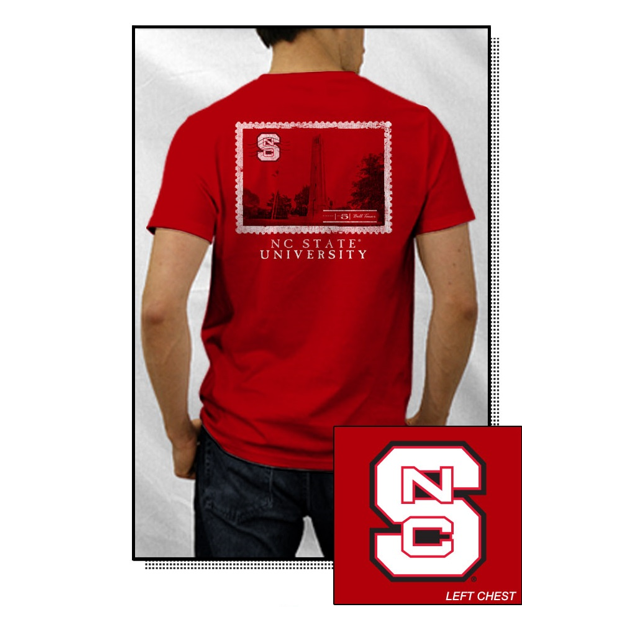 NC State Wolfpack Red Bell Tower Stamp T-Shirt