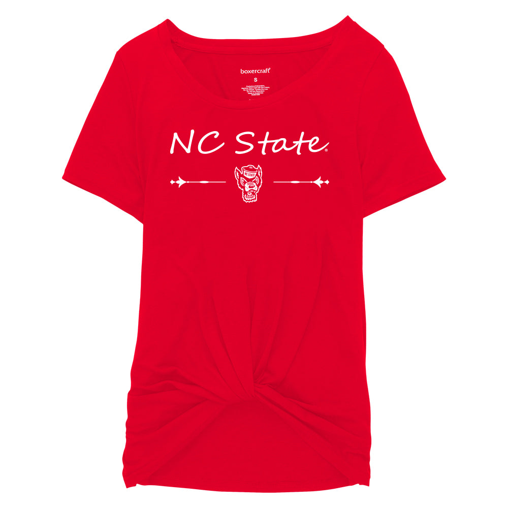 NC State Wolfpack Youth Girl's Red Wolfhead Twisted T-Shirt