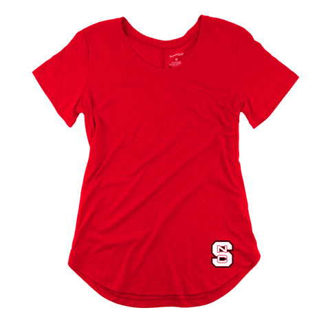 NC State Wolfpack Women's Red Block S Flowy Scoop Neck T-Shirt