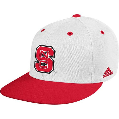 "NC State Wolfpack White adidas® 2014 ""On-Field"" Baseball Performance Fitted Flatbill Hat"
