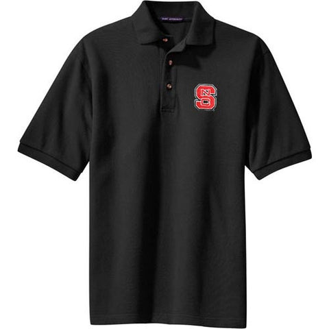 NC State Wolfpack Black Tall Pique Knit Polo