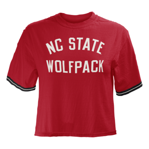 NC State Wolfpack Women's Red Lyn Crewneck Crop Top T-Shirt