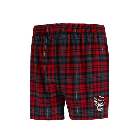 NC State Wolfpack Men's Parkway Wolfhead Flannel Boxers