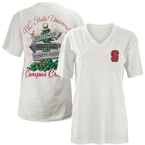 NC State Wolfpack Women's White Campus Cruisin' V-Neck T-Shirt