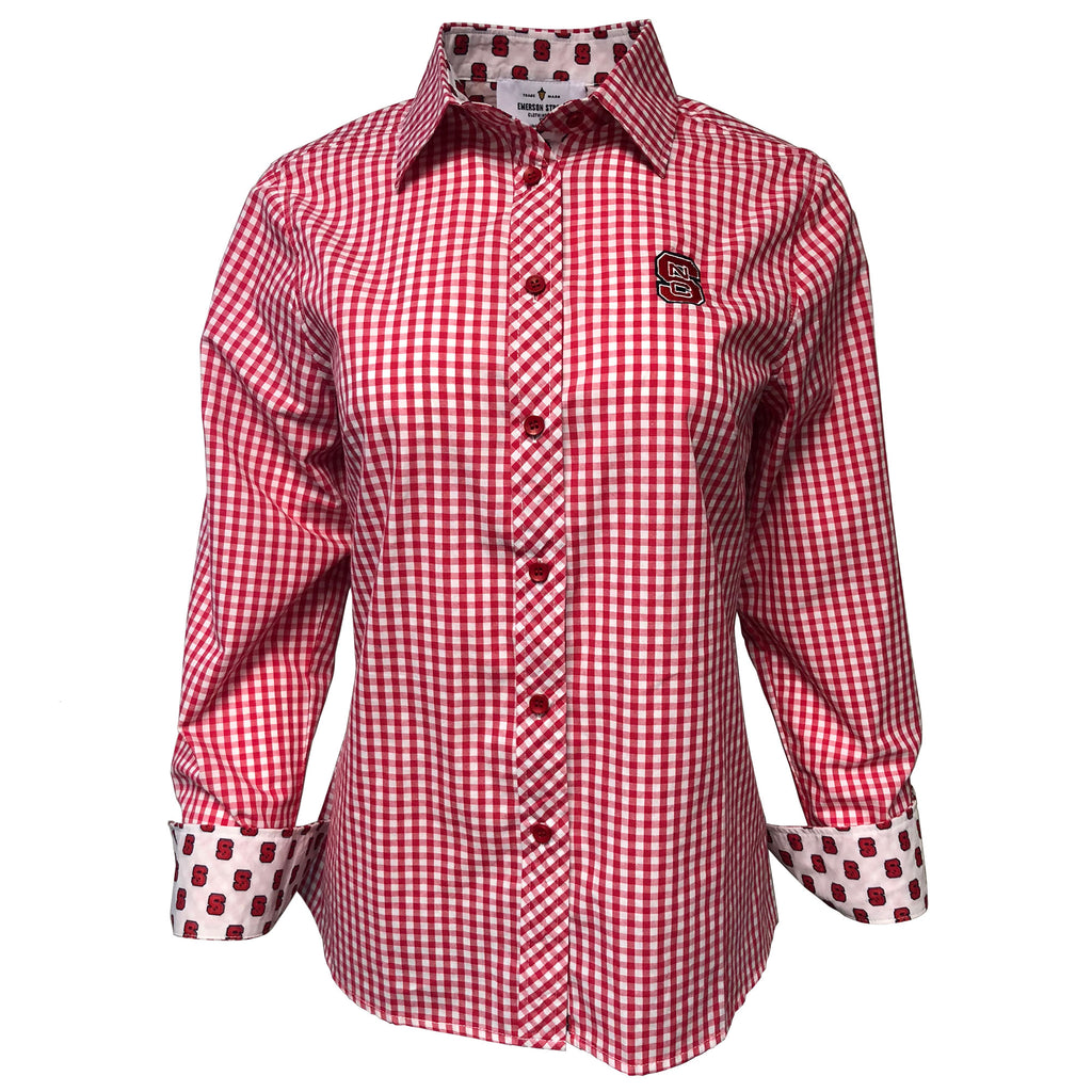 Nc State Wolfpack Women S Gingham Button Down Dress Shirt Red And
