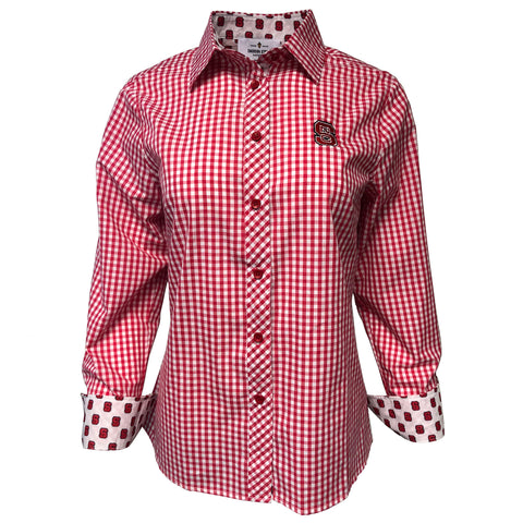 NC State Wolfpack Women's Gingham Button Down Dress Shirt