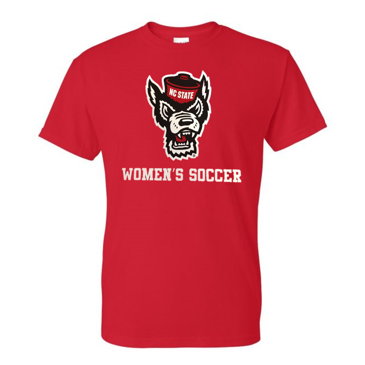 NC State Wolfpack Youth Red Wolfhead Women's Soccer T-Shirt