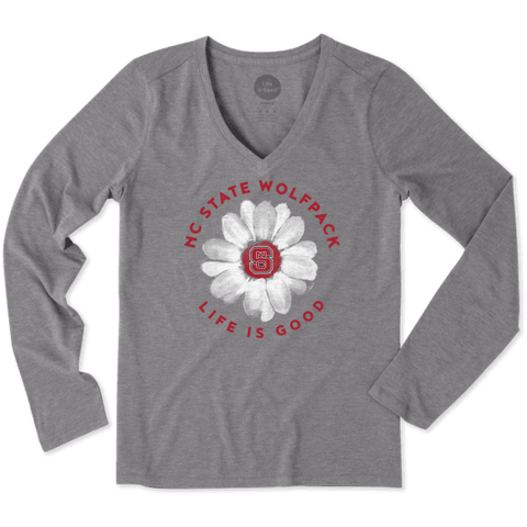 NC State Wolfpack Women's Grey Daisy Long Sleeve Cool V-Neck T-Shirt