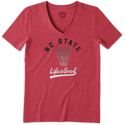 NC State Wolfpack Life Is Good Women's Red Gradient Tailwhip Cool V-Neck T-Shirt