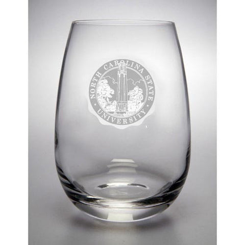 NC State Wolfpack University Seal 15oz Stemless Wine Glass