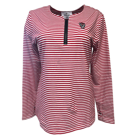 NC State Wolfpack Women's Red and White Striped Karena Top