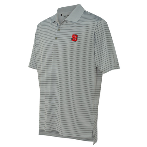 NC State Wolfpack Adidas Grey and Black Stripe Performance Polo