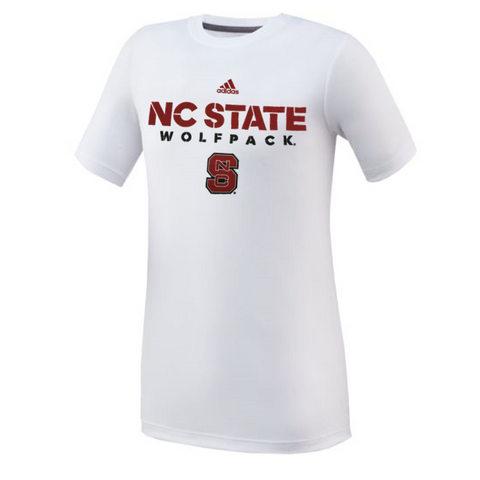 NC State Wolfpack Adidas Youth White Sideline T-Shirt