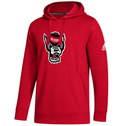 NC State Wolfpack Adidas Red Wolfhead Fleece Hooded Sweatshirt