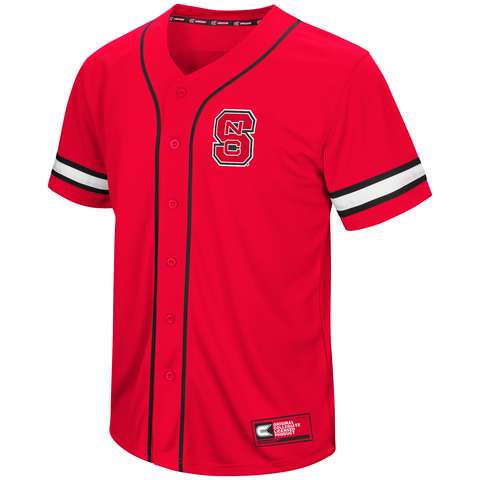Nc state wolfpack men 39 s red play ball baseball jersey for A bathroom i can play baseball in