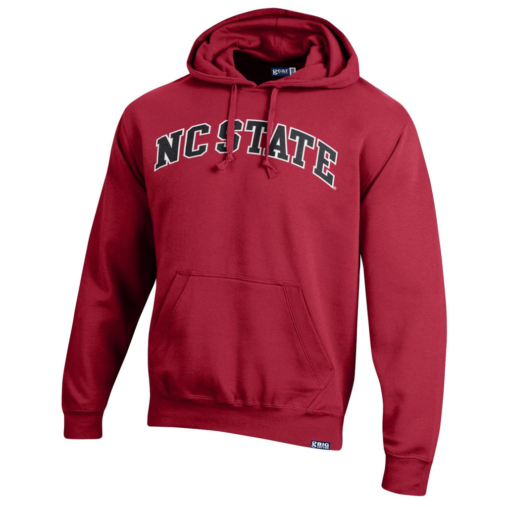 NC State Wolfpack Red Big Cotton Arched Embroidered  NC State Hooded Sweatshirt