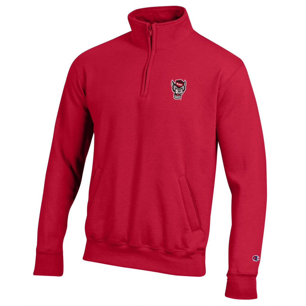 NC State Wolfpack Champion Red Wolfhead Powerblend 1/4 Zip Jacket