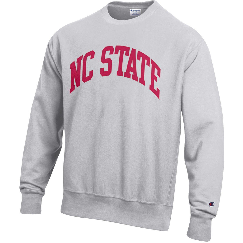 NC State Wolfpack Champion Silver Grey Embroidered Red NC State Reverse Weave Crewneck Sweatshirt