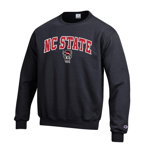 NC State Wolfpack Champion Black Embroidered Wolfhead Crewneck Sweatshirt