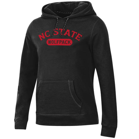 NC State Wolfpack Women's Black Arched NC State Relax Hooded Sweatshirt