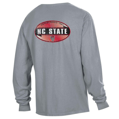 NC State Wolfpack Grey Comfort Wash Oval Wolfhead Long Sleeve T-Shirt