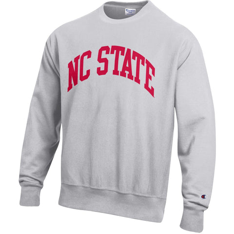 NC State Wolfpack Champion Silver Grey Arch NC State Reverse Weave Reverse Out Crewneck Sweatshirt