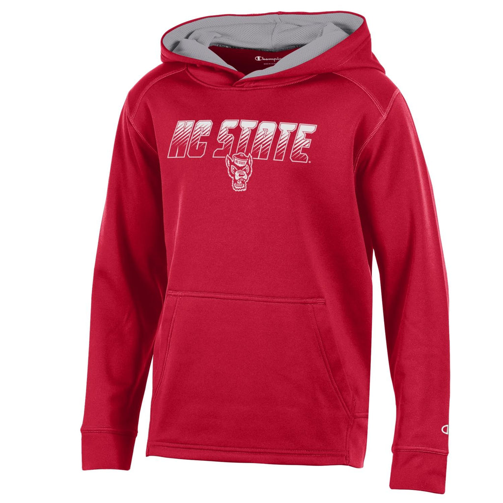 NC State Wolfpack Champion Youth Red Athletic Wolfhead Hooded Sweatshirt