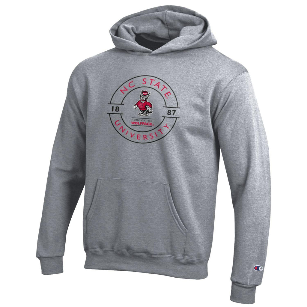 NC State Wolfpack Champion Youth Sports Grey Strutting Wolf Circle Design Hooded Sweatshirt