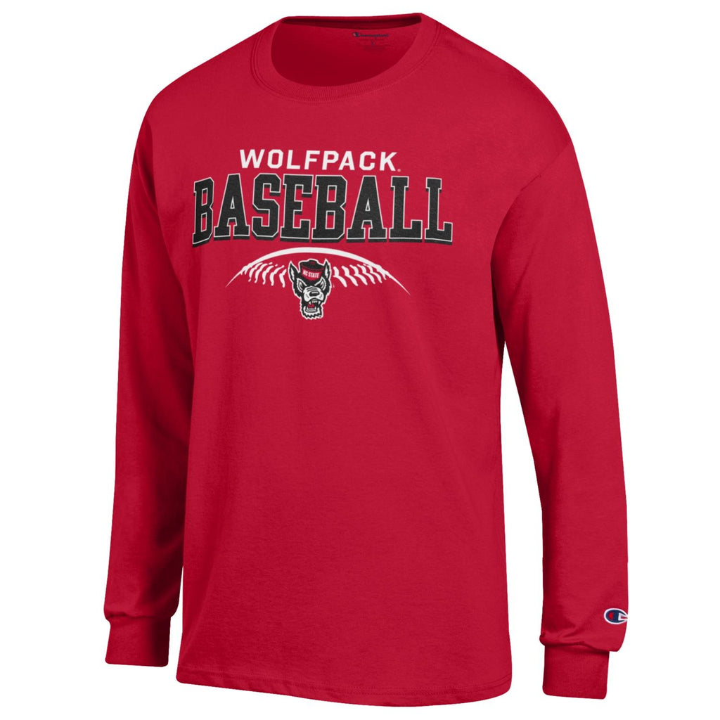 NC State Wolfpack Champion Red Wolfhead Baseball Long Sleeve T-Shirt