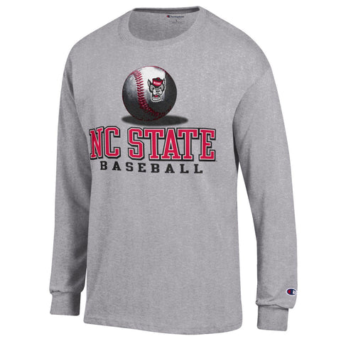 NC State Wolfpack Champion Grey Wolfhead Baseball Long Sleeve T-Shirt