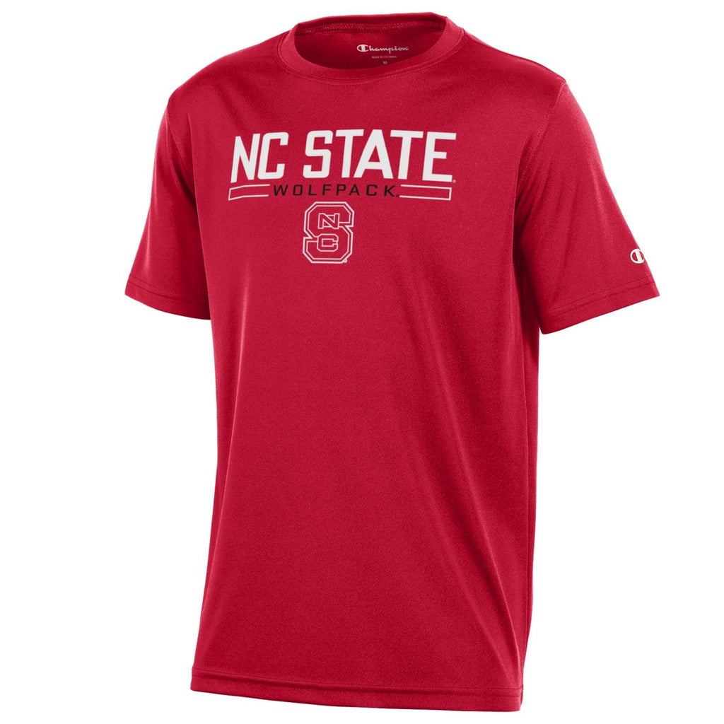 NC State Wolfpack Champion Red Block S Split Box Performance T-Shirt