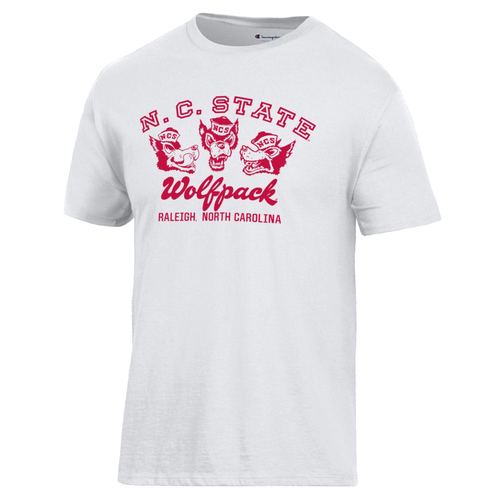 NC State Wolfpack Champion White Arched NC State Over Wolf Logos Ringspun T-Shirt